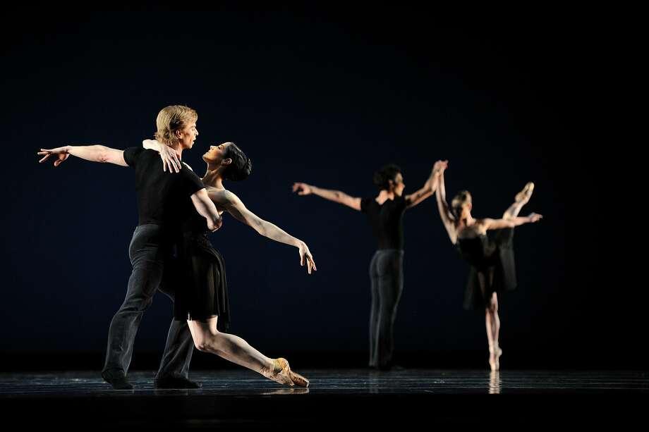 "Gennadi Nedvigin and Vanessa Zahorian in Helgi Tomasson's ""7 for Eight,"" on Program 1 of the S.F. Ballet 2016 season. Photo: Erik Tomasson"
