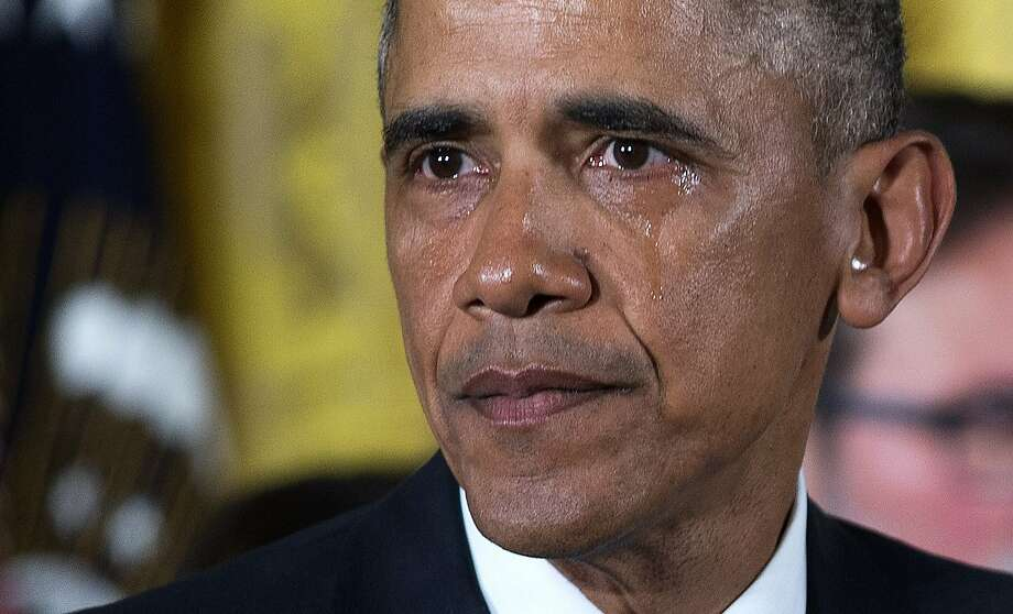 President Barack Obama tears up as he speaks about the Newtown shooting victims during a statement in the East Room of the White House in Washington, Jan. 5, 2016. Obama was  expected to announce executive actions he will make intended to expand background checks for some firearm purchases and step up federal enforcement of the nation's gun laws. (Doug Mills/The New York Times) Photo: Doug Mills, New York Times