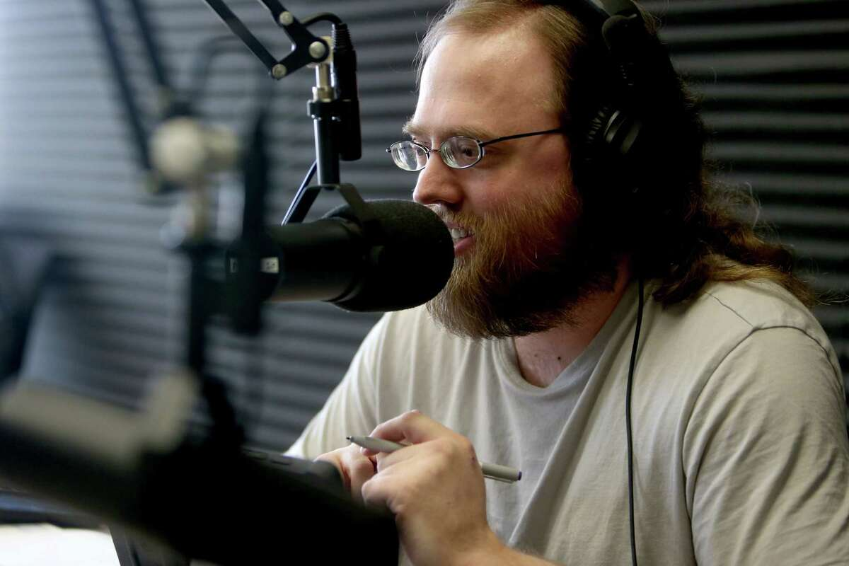 Paul Louden, 32, of Spring, an autism advocate, host his weekly one hour long radio show Theories of Mind on KTEK 1110 am Tuesday, Jan. 5, 2016, in Houston. Theories of Mind provides a perspective on the mental health challenges facing us in the 21st century and how our differences shape society and live. The show is broadcast 10 - 11 a.m. on Tuesday. ( Gary Coronado / Houston Chronicle )