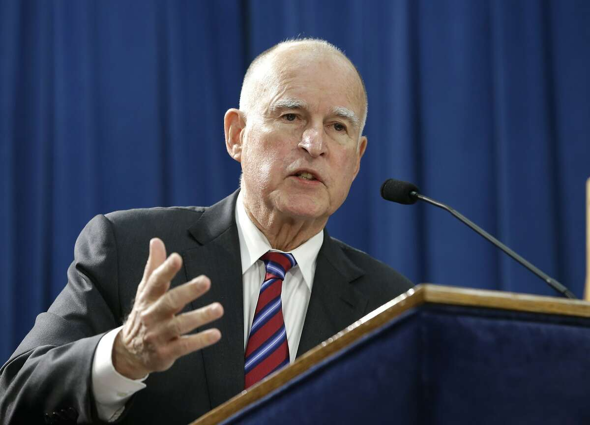 Gov. Jerry Brown answers a question concerning his proposed 2016-17 state budget at a news conference, Thursday, Jan. 7, 2016, in Sacramento, Calif. Brown unveiled the $122.6 billion spending plan that calls for increases in spending on education, health care and the state infrastructure. (AP Photo/Rich Pedroncelli)