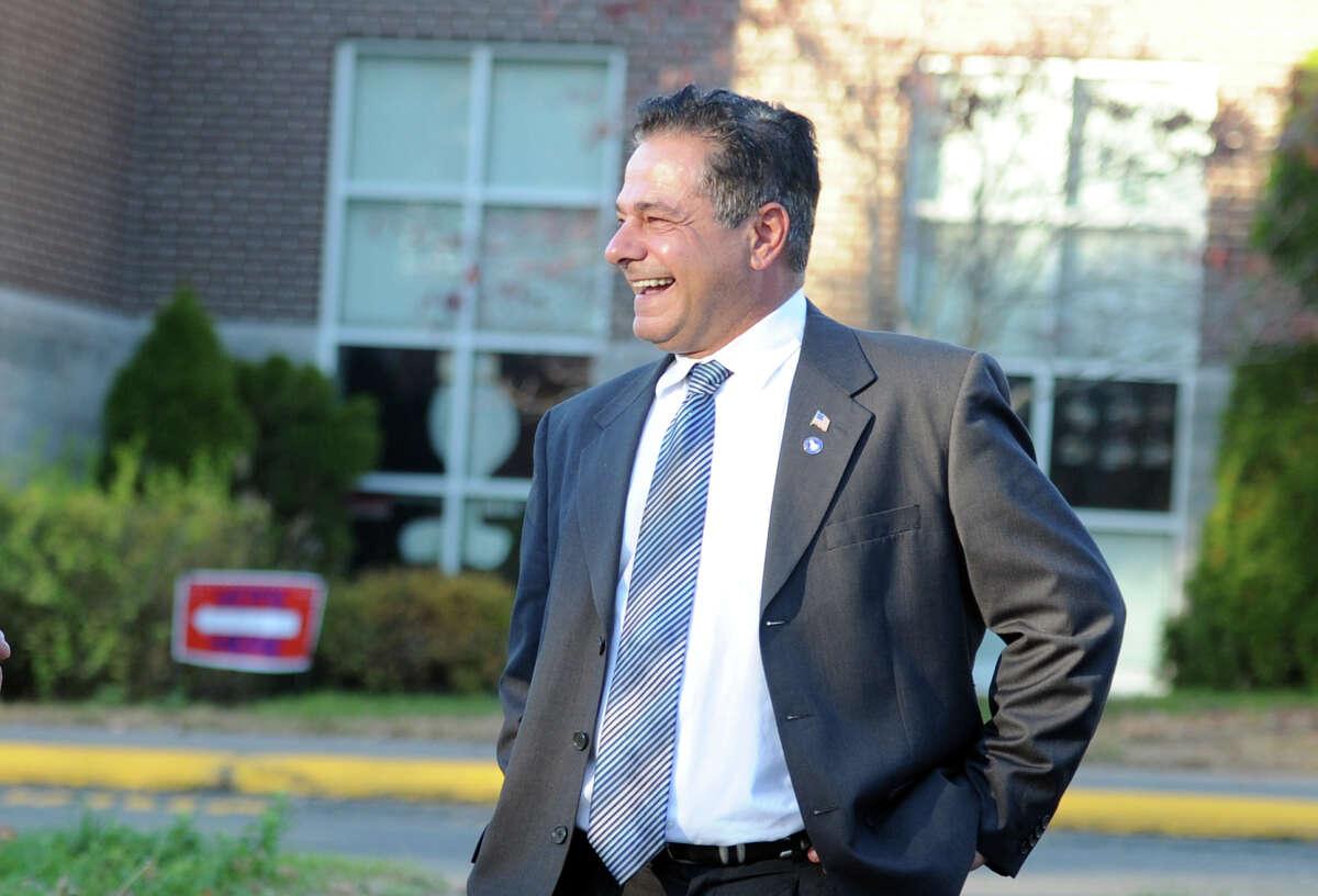 Ansonia Mayor David Cassetti outside Mead School.