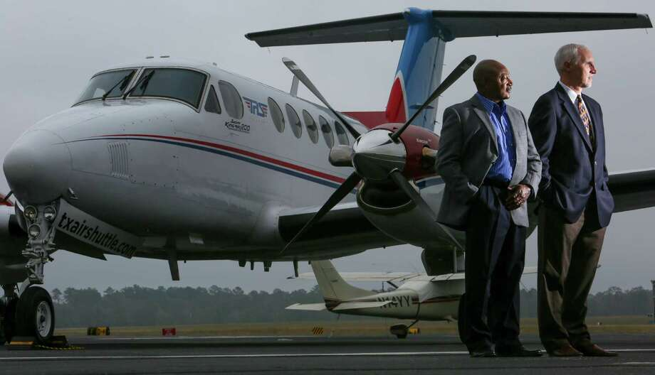 Texas Air Shuttle chairman and founder Ken Haney, left, and CEO and founder Steve Geldmacher, right. >>Click to see the cheapest places to fly from Houston. Photo: Michael Ciaglo, Staff / © 2015  Houston Chronicle