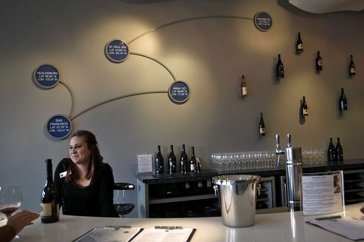 Anna Girkout tends to a tasting at Cartograph Wines tasting room in Healdsburg, Calif., on Saturday, January 2, 2015.