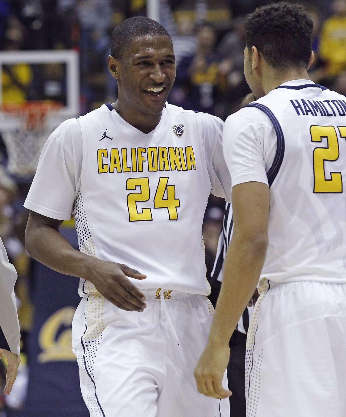 California's Jordan Mathews smiles at Nick Hamilton (24) after California beat the Utah 71-58, in an NCAA basketball game, Sunday, Jan. 3, 2016, in Berkeley, Calif.