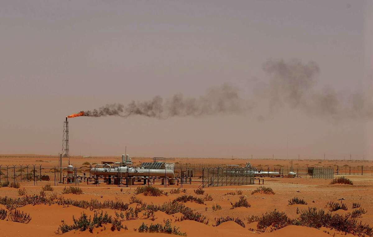 (FILES) A picture taken on June 23, 2008 shows a flame from a Saudi Aramco oil installion known as