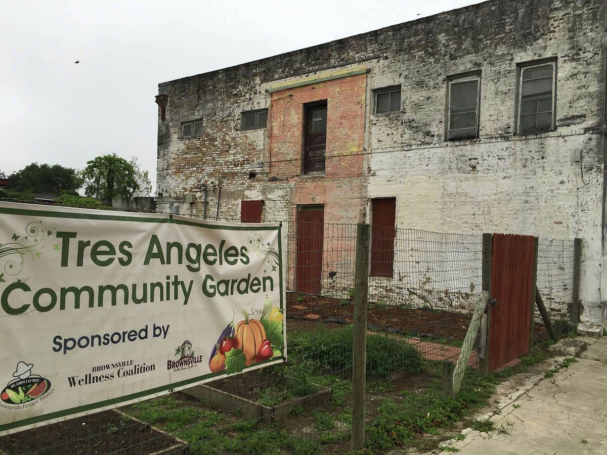 The Brownsville City Commission voted unanimously to tear down the so-called Rubio House where John Allen Rubio and his common-law wife killed their three children in 2003, but that decision has met with resistance from the local historic preservation board. The abandoned building is pictured here, alongside it is a community garden named Tres Angeles, or Three Angels, in memory of the children.