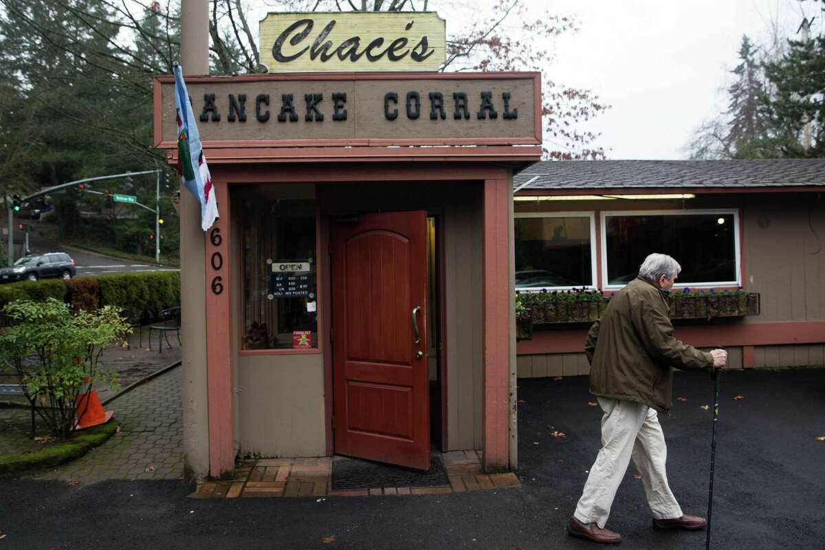 A man walks out of Chace's Pancake Corral after breakfast in Bellevue. He has been well fed. photographed on Tuesday, Jan 5, 2016.