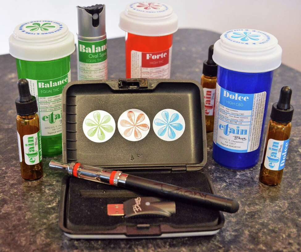 Etain products on display during an Open House at their Albany medical marijuana dispensary Thursday, Jan. 7, 2016, in Albany, N.Y. (John Carl D'Annibale / Times Union)