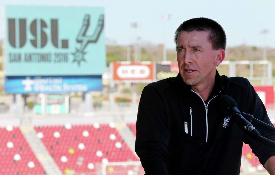United Soccer League San Antonio head coach Darren Powell speaks during a press conference where the USL announced that the 31st USL franchise was awarded to Spurs Sports & Entertainment on Jan. 7, 2016 at Toyota Field. Photo: Edward A. Ornelas /San Antonio Express-News / © 2016 San Antonio Express-News