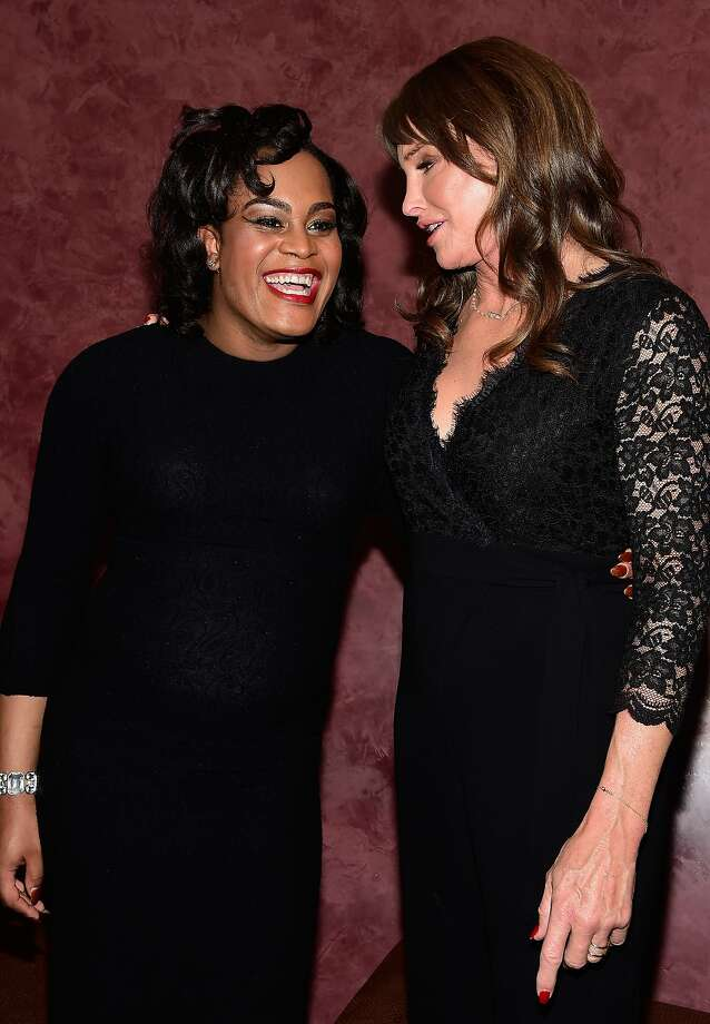 """Actress Mya Taylor (left) and Caitlyn Jenner attend a special screening of """"Tangerine"""" last week in Los Angeles. Taylor hopes her performance """"opens more people's eyes to trans talent."""" Photo: Frazer Harrison, Getty Images"""