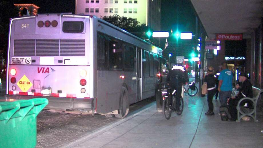 A 71-year-old woman was killed after being pulled under a VIA bus in an accident on Thursday, Jan. 8, 2016, in downtown San Antonio.