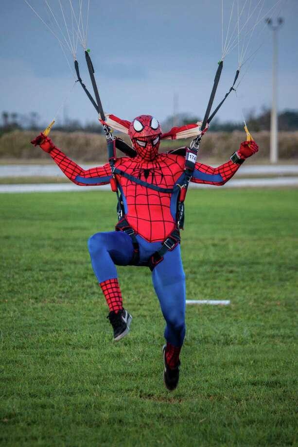 Zach Vasnick, of Sherman, wears a Spiderman costume as he competes in the U.S. Parachute Association National Collegiate Parachuting Championship in Florida. Photo: / Contibuted /Laszlo Andacs USPA / Copyright: Laszlo Andacs www.laszloimage.com