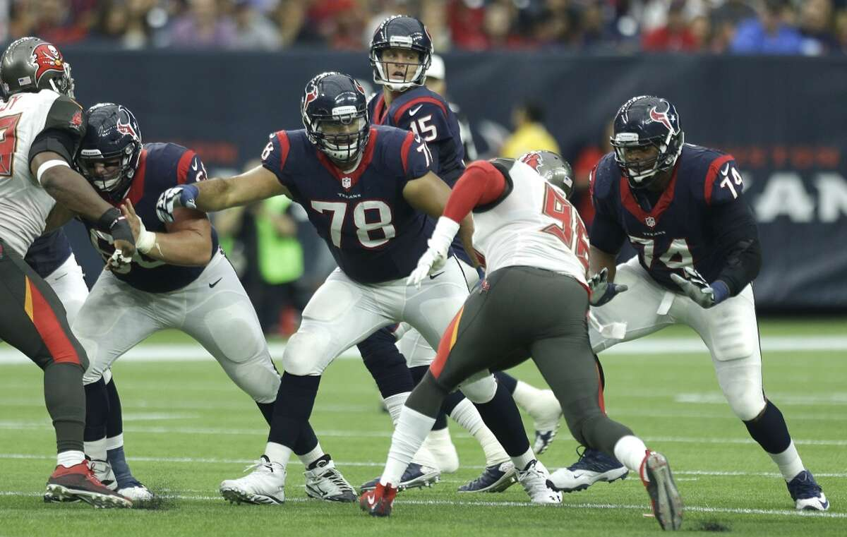 Duane Brown (78) and the Texans' offensive line struggled at times Saturday night against a solid Cincinnati front four. The Texans hope to get their pass protection right in time for the playoffs.