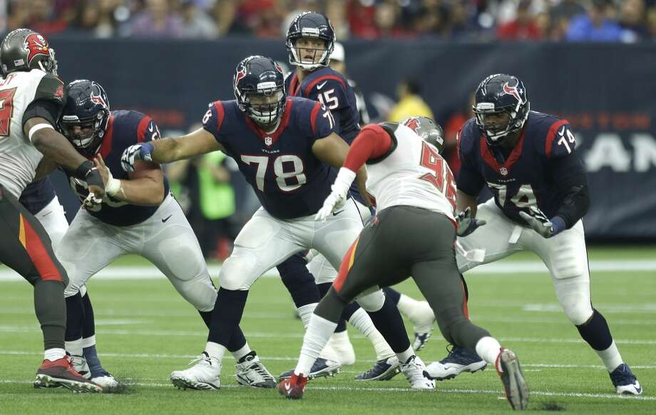The Chiefs recorded 47 sacks, including at least five by four players. Their pass rush comes from all angles. They also allowed 98.1 yards rushing, including 4.1 a carry. The Texans' offensive line is playing without injured left tackle Duane Brown. Chris Clark, who knows the Chiefs' defense better than any player on his team after playing his first five seasons with Denver, played well against Jacksonville. Now he has to play better. The key player on the line is right tackle Derek Newton because he blocks the Chiefs' best pass rusher, outside linebacker Justin Houston. He's healthy and ready to abuse Newton if he can. Newton will need help. The linemen must do a good job of run blocking to help keep the Chiefs on their heels rather than their toes. Photo: Brett Coomer, Houston Chronicle