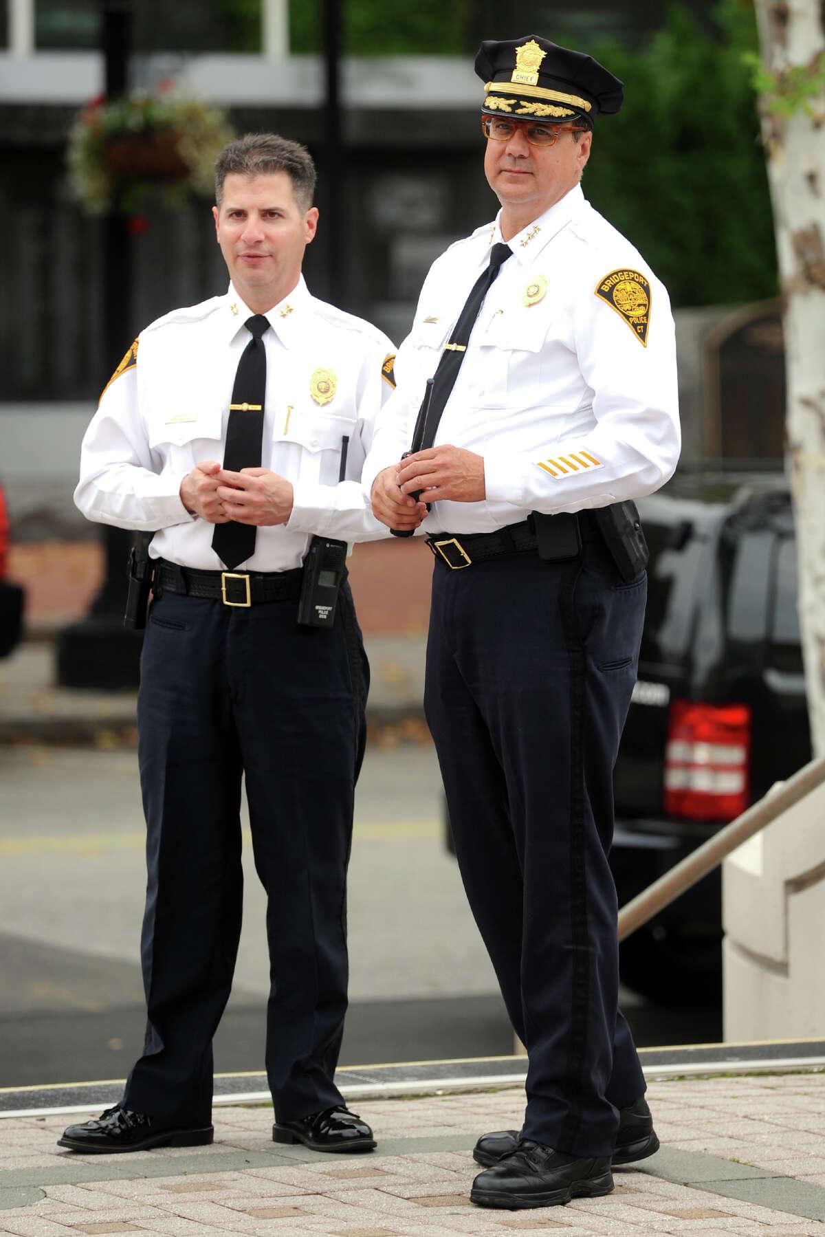 Bridgeport Assistant Police Chief James Nardozzi, left, and Police Chief Joseph Gaudett.