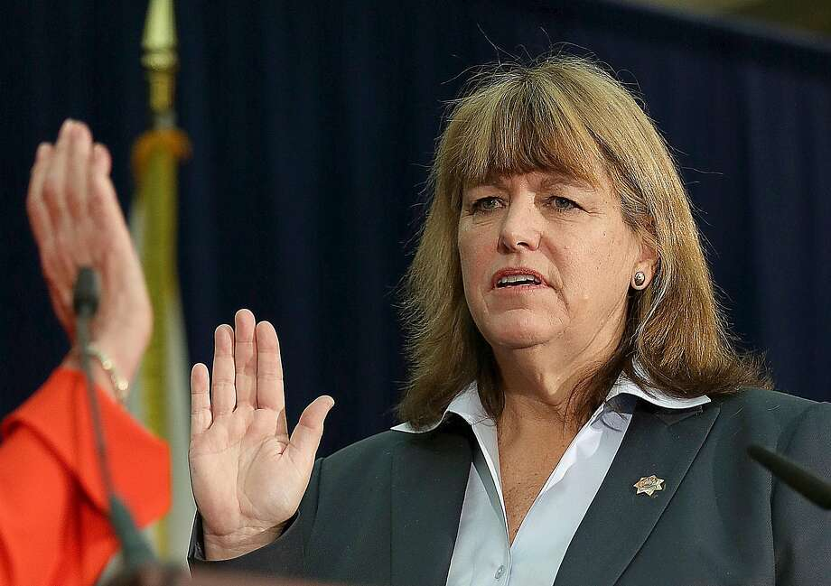 Sheriff-elect Vicki Hennessy is sworn into office at city hall in San Francisco, California, on Friday,  January 8, 2015. Photo: Liz Hafalia, The Chronicle