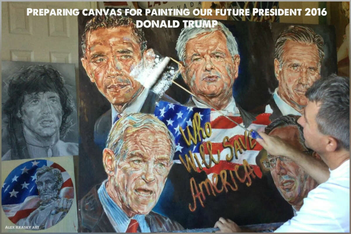 The paintings by the self-trained Krasky portray his subjects as strong and stoic. He says that his patriotism for this country is what drives his art.He has high hopes for Trump, to say the least.