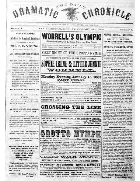 The first San Francisco Chronicle, then known as The Daily Dramatic Chronicle, from Jan. 16, 1865.