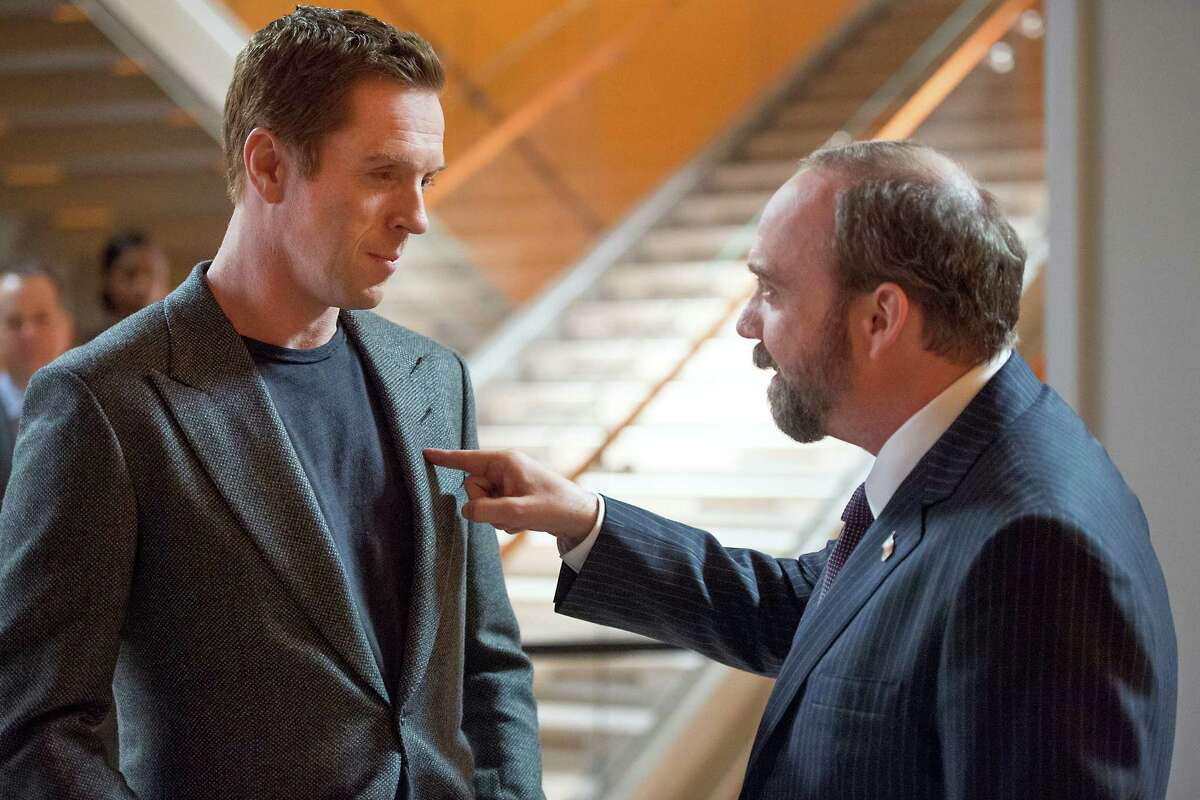 """Damian Lewis as Bobby """"Axe"""" Axelrod and Paul Giamatti as Chuck Rhoades in the series premier of Billions, slated to debut on Showtime on January 17, 2016. Photo by JoJo Whilden courtesy of Showtime."""