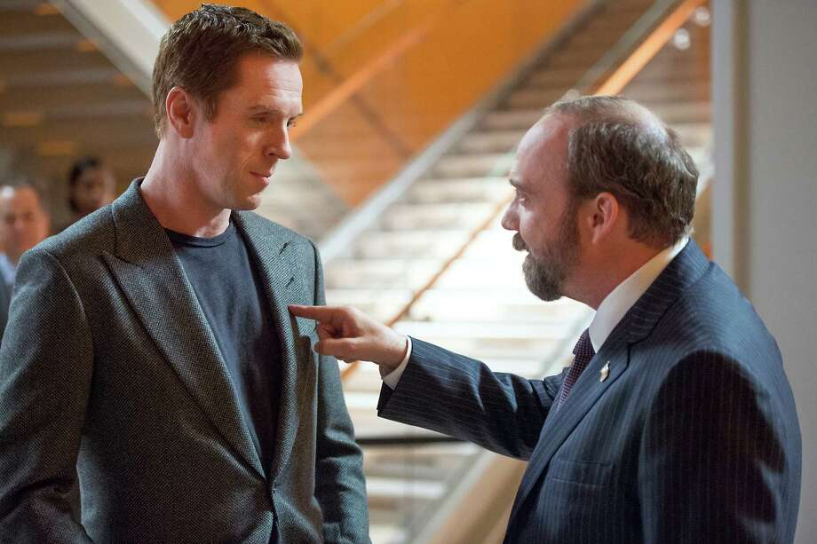 """Damian Lewis as Bobby """"Axe"""" Axelrod and Paul Giamatti as Chuck Rhoades in the series premier of Billions, slated to debut on Showtime on January 17, 2016. Photo by JoJo Whilden courtesy of Showtime. Photo: JoJo Whilden / JoJo Whilden/Showtime / Copyright: 2015 Showtime"""