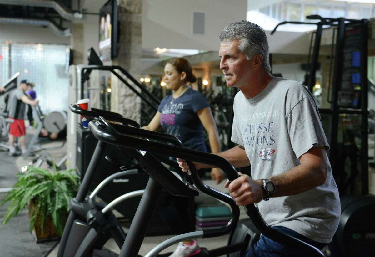 Matrix employee Kevin McGinniss works out at the Matrix Corporate Center Fitness Center in Danbury. Executives are looking to make amenities like the center available to the public as part of a plan to redevelop the property.