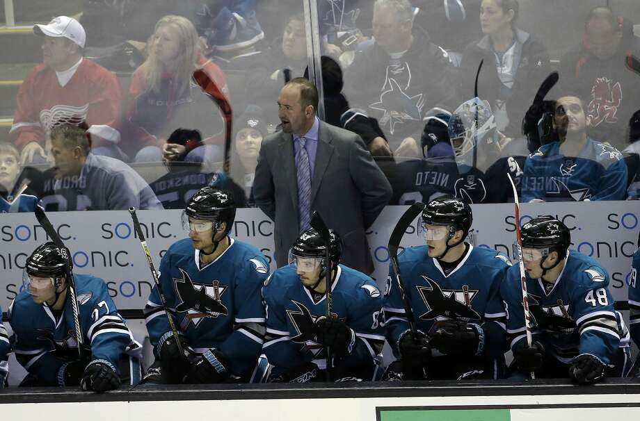 Peter DeBoer continues to work at finding the right combination for his mediocre team. Photo: Marcio Jose Sanchez, Associated Press