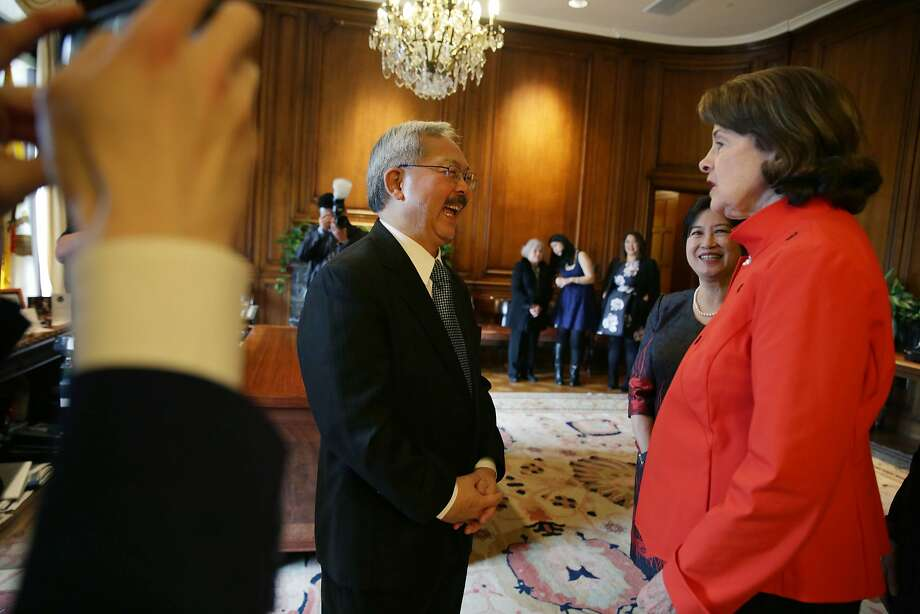 Mayor Ed Lee and his wife Anita Lee talk with Sen. Dianne Feinstein in his office before his Inauguration at City Hall on Friday, January 8, 2015 in San Francisco, Calif. Photo: Lea Suzuki, The Chronicle