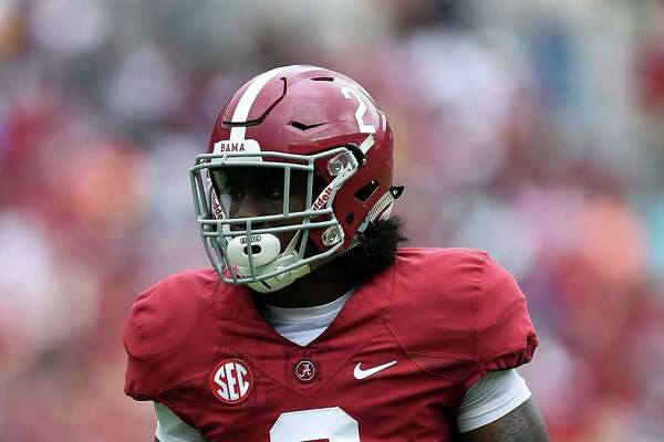 TUSCALOOSA, AL - APRIL 18:  Tony Brown #2 of the Crimson team anticipates a play during the University of Alabama Crimson Tide A-day spring game at Bryant-Denny Stadium on April 18, 2015 in Tuscaloosa, Alabama.