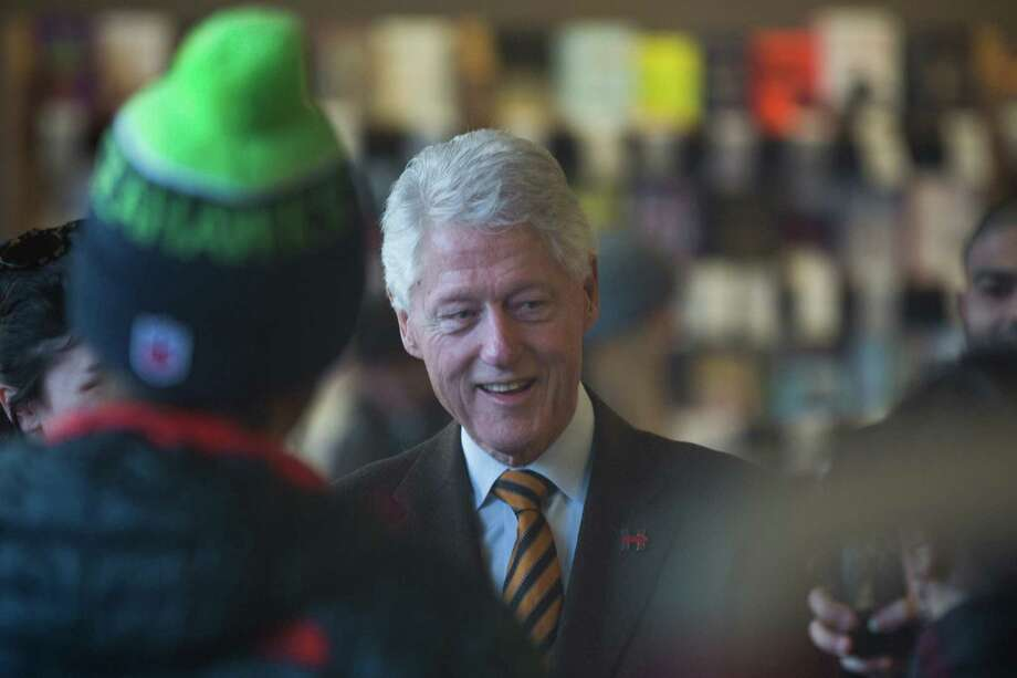 "President Bill Clinton has committed his first gaffe of 2016. In Spokane, he urged Democratic caucus-goers to back Hillary Clinton so ""we can put the lawful legacy of the last eight years behind us."" Clinton says he was going after the Republican-run Congress, not the Obama administration in which his wife served four years as Secretary of State.   Photo: Grant Hindsley, SEATTLEPI.COM / SEATTLEPI.COM"