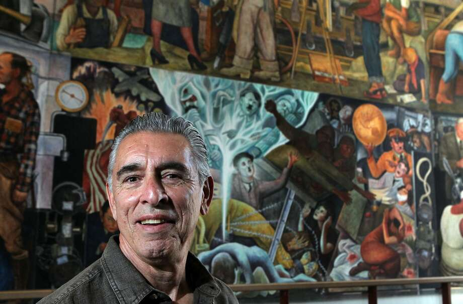 Will Maynez longtime City College of San Francisco staffer who ran the physics department lab, is best known for spearheaded the efforts to restore and maintain the college's famed Diego Rivera mural, has retired. Maynez, will continue to promote and stand guardian of the former World Fair masterpiece that now hangs in the Diego Rivera Theater on campus.  Thursday, May 10, 2012 in San Francisco California. Photo: Lance Iversen, The Chronicle