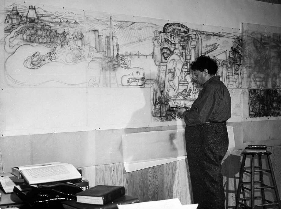 Mexican muralist Diego Rivera working on pencil sketches for huge mural depicting Pan-American unity commissioned by San Francisco's Junior College which he has tacked up on wall at the Palace of Fine Arts during Art in Action project.  (Photo by Peter Stackpole/The LIFE Picture Collection/Getty Images) Photo: Peter Stackpole, The LIFE Picture Collection/Gett