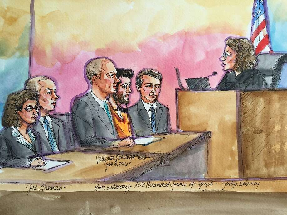 Aws Mohammed Younis Al-Jayab flanked by lawyers appeared before U.S. Magistrate Judge Carolyn Delaney on Friday, Jan. 8, 2016 in Sacramento, Calif. Photo: Vicki Behringer, Special To The Chronicle