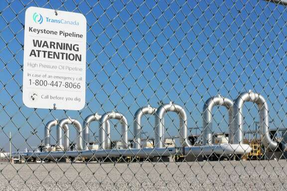 The Keystone Steele City pumping station, into which the planned Keystone XL pipeline is to connect to, is seen in Steele City, Neb.  TransCanada filed a federal lawsuit in Houston on Wednesday, Jan. 7, 2016  alleging President Barack Obama's decision in November to kill the pipeline exceeded his power under the U.S. Constitution.  (AP Photo/Nati Harnik, File)