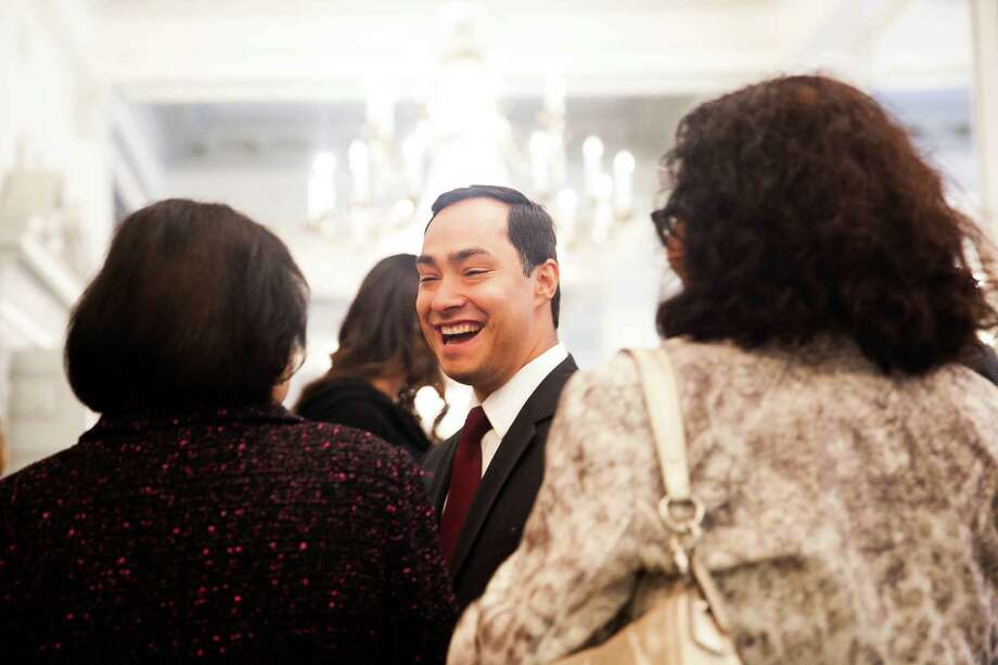Congressman Joaquin Castro greets guests before the  American Latino Influencer awards hosted by the Friends of the National Museum of the American Latino Saturday Oct. 24, 2015. Honorees include the Castro family, Hope Andrede, Sosa, Bromley, Aguilar & Associates, and Network for Young Artists. / Julysa Sosa / For The San Antonio Express-News