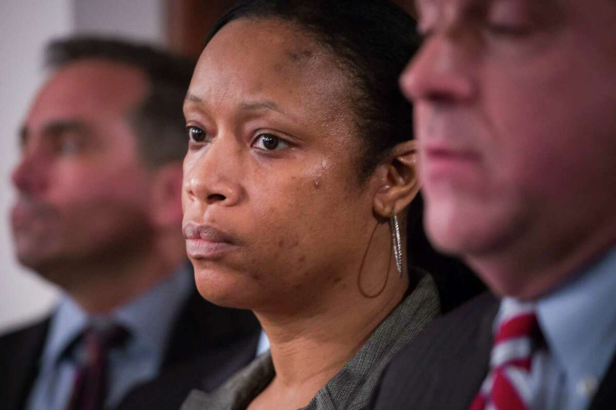 Sgt. Kizzy Adonis of the New York Police Department, at a news conference regarding internal disciplinary charges over her role in the 2014 death of Eric Garner, in New York, Jan. 8, 2016. Adonis, the supervisor on the scene as Garner was still being taken into custody, is likely to face charges of failing to appropriately supervise the situation. (Michael Nagle/The New York Times) ORG XMIT: XNYT61