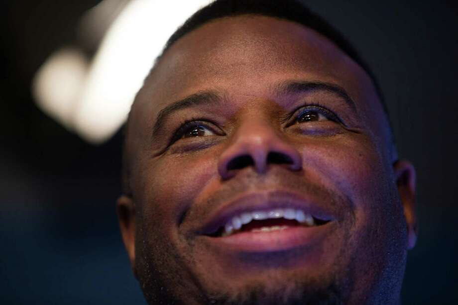 Ken Griffey Jr. smiles while talking after a press conference on his recent induction into the National Baseball Hall of Fame, at at Safeco Field on Friday, Jan. 8, 2016. Photo: Grant Hindsley, SEATTLEPI.COM / SEATTLEPI.COM