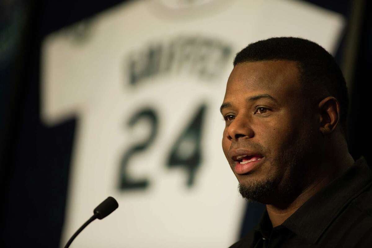 Ken Griffey Jr. speaks to media during a press conference on his recent induction into the National Baseball Hall of Fame, at at Safeco Field on Friday, Jan. 8, 2016.