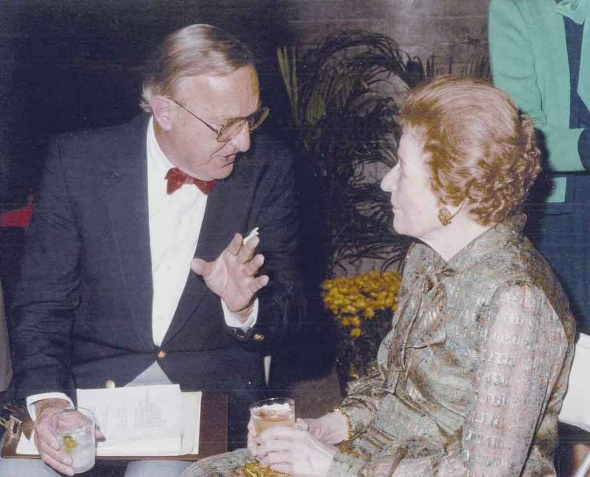 Helen Alvord, right, the first executive director of the Greenwich Community Chest and Council, what would eventually become the United Way of Greenwich, talks with Bernie Yudain, who handled the organization's public relations, in this undated photo.