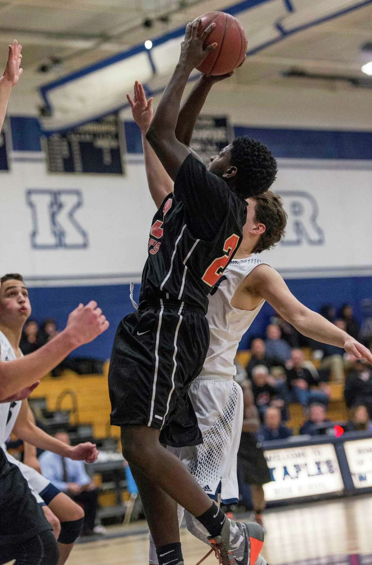 Stamford High School against Staples High School during a boys basketball game played at Staples High School, Westport, CT on Friday, January 8, 2016.