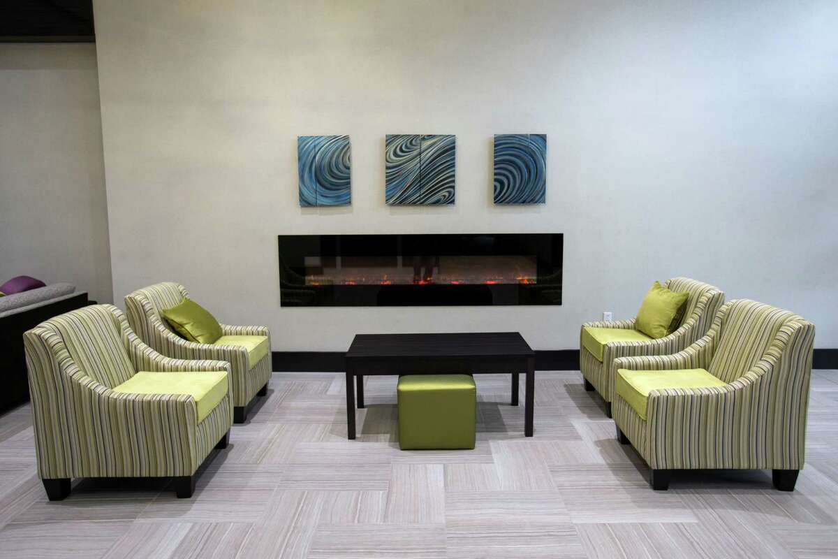 A seating area in the main lobby at the new Holiday Inn hotel is shown on Wednesday, Jan. 6, 2016, in Houston. ( Brett Coomer / Houston Chronicle )