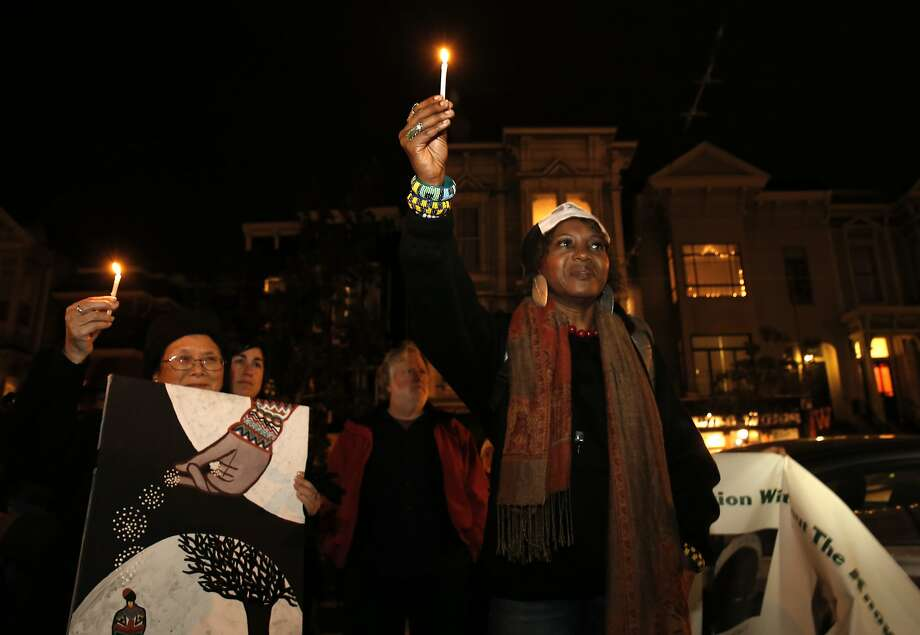Salahaquekyah Chandler mourns the loss of her son with a march and candlelight vigil on Fri. January 8, 2016, in San Francisco, Calif., in memory of the quadruple homicide on January 9, 2015 that took the life of her son Yalani Chinymurindi along with David Saucier, Emanuel O'Neal, Harith Atchan. Photo: Michael Macor, The Chronicle