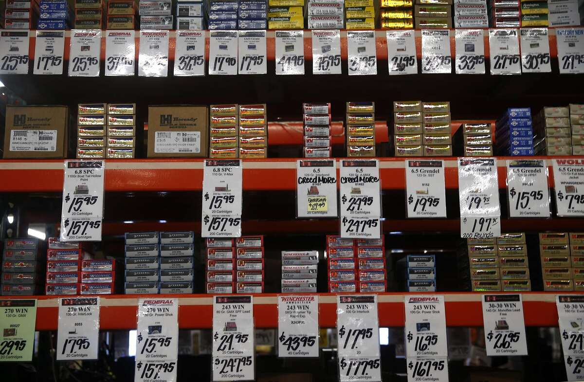 Ammunition is displayed at a vendor's booth at the Crossroads of the West gun show at the Cow Palace in Daly City, Calif. on Saturday, Jan. 9, 2016.