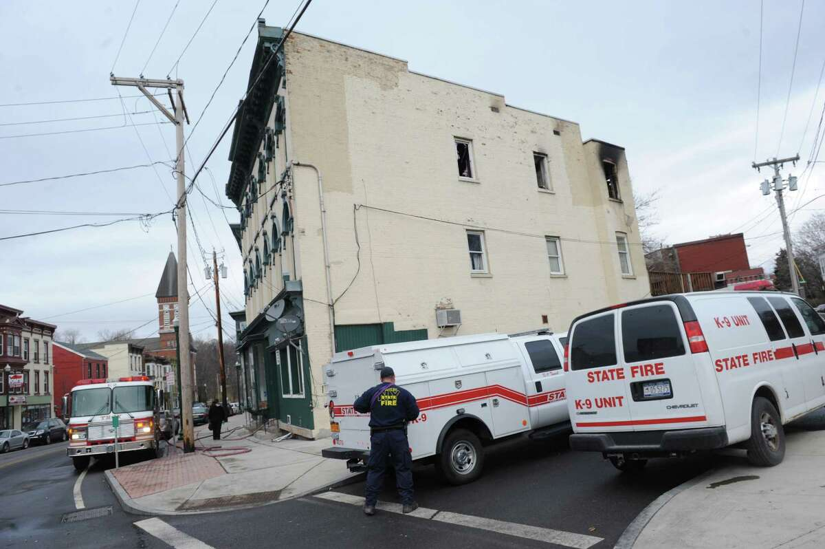 State and Troy fire departments work the scene of a fire at 349 Congress Street on Saturday Jan. 9, 2016 in Troy, N.Y. (Michael P. Farrell/Times Union)