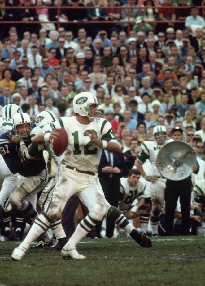 MIAMI, FL- JANUARY 1968:  Quarterback Joe Namath #12 of the New York Jets passing against the Baltimore Colts in the Orange Bowl during Super Bowl III on January 14, 1968 in Miami Florida.  The Jets defeated the Colts 16-7.  (Photo by Herb Scharfman/Sports Imagery/Getty Images) *** Local Caption ***Joe Namath Photo: Herb Scharfman/Sports Imagery / Getty Images / 1968 Herb Scharfman/Sports Imagery