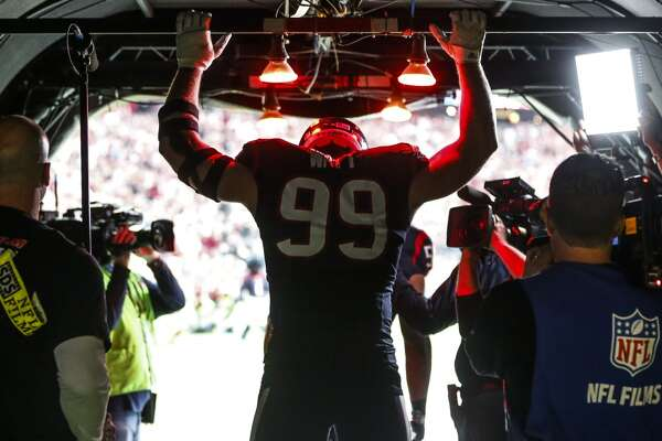 Houston Texans defensive end J.J. Watt (99) stands in the tunnel before taking the field for AFC Wildcard playoff game at NRG Stadium on Saturday, Jan. 9, 2016, in Houston.  ( Karen Warren / Houston Chronicle )