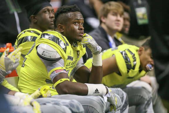 Steele's Mark Jackson, playing for the West team, on the sideline during the first half of the U.S. Army All-American Game at the Alamodome on Jan. 9, 2016.