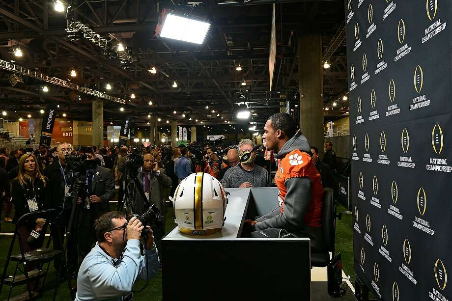Clemson quarterback Deshaun Watson faces what appears to be a stadium full of reporters at the Phoenix Convention Center during media day Saturday. Photo: Jennifer Stewart, Getty Images