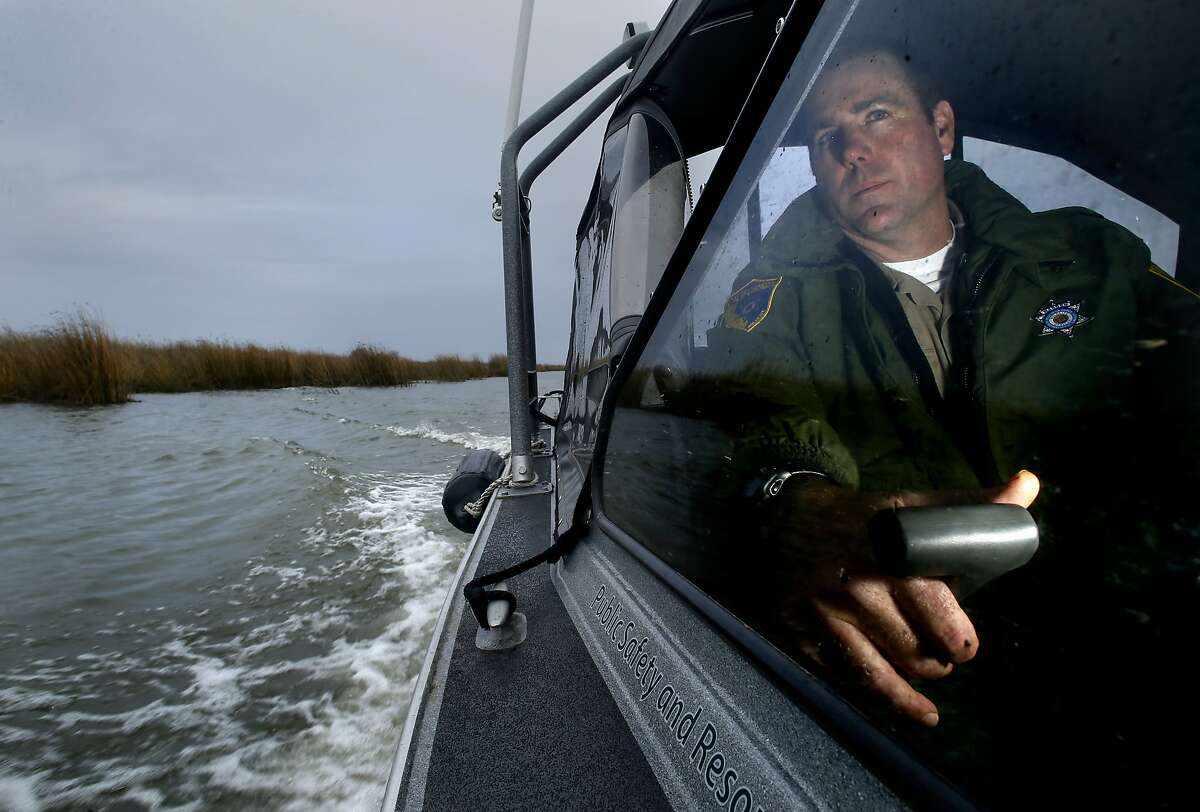 California Department of Fish and Wildlife Warden Clint Garrett during daily patrols on the California Delta near Brentwood, Calif. on Sat. January 9, 2016,