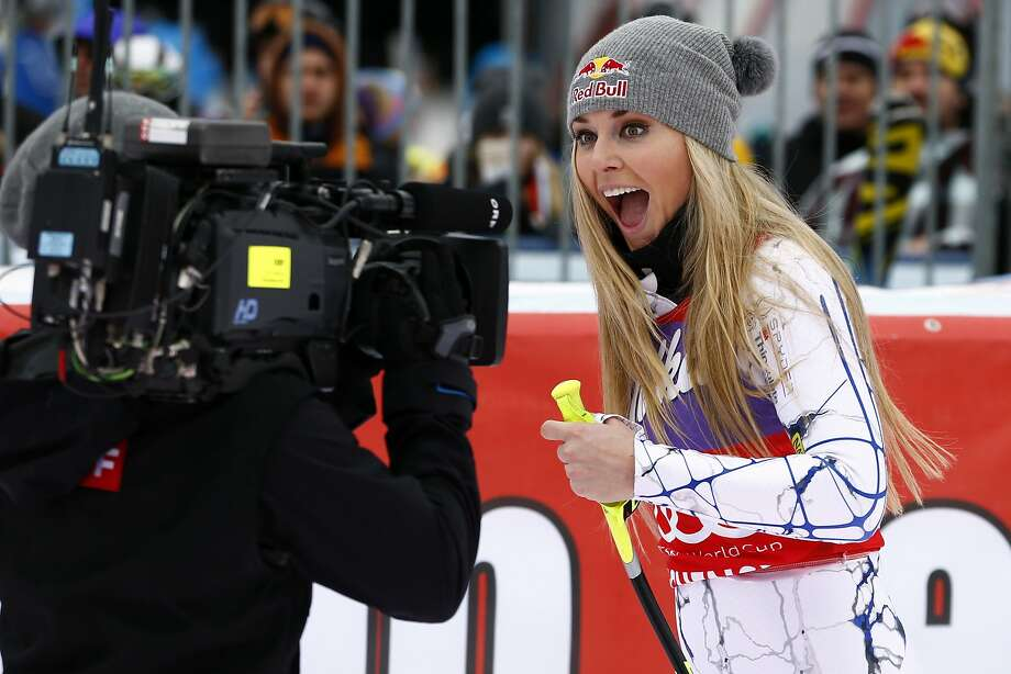 Lindsey Vonn mugs for the camera after her latest win. Photo: Christophe Pallot/Agence Zoom, Getty Images