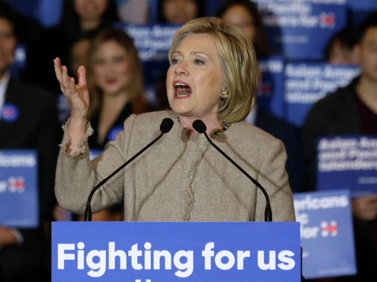 New Hampshire primary voters seeking an alternative to Hillary Clinton, shown speaking in San Gabriel, Calif., or Bernie Sanders have an alternative in Raymond Moroz of Colonie, NY. (AP Photo/Damian Dovarganes, File)